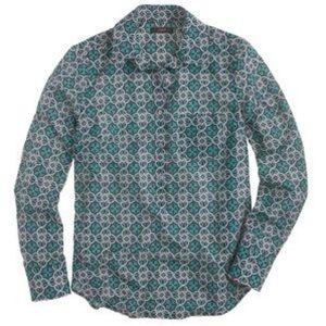 J.Crew Silk Lattice Medallion Popover Shirt Sz 16